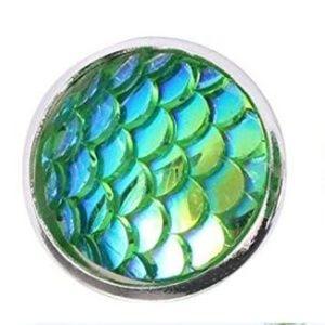 Gold Iridescent Green Mermaid Scale Earrings